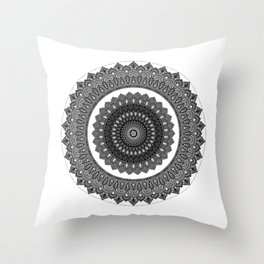 Grey scale mandala - symmetrical illustration Throw Pillow