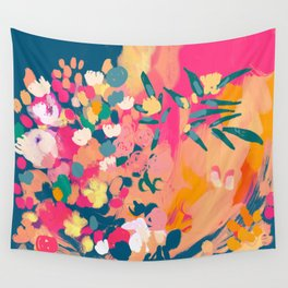 Abstract florals- pink, blue, orange  Wall Tapestry