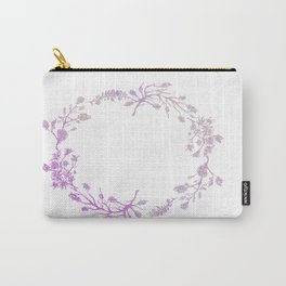 Wreath Floral In Pink And Purple Carry-All Pouch