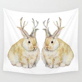 Watercolor Grumpy Jackalope Antler Bunny Wall Tapestry