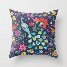 Peacock Sanctuary (navy) Throw Pillow