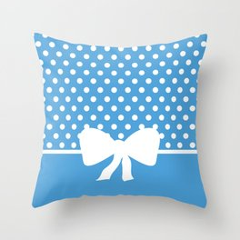 Dots dip-dye pattern with cute bow in blue Throw Pillow