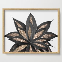 Gray Black Agave with Gold Glitter #2 #shiny #tropical #decor #art #society6 Serving Tray