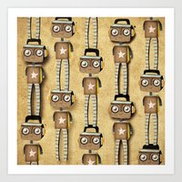 robots Art Prints featuring Robots  by Ruth Fitta Schulz