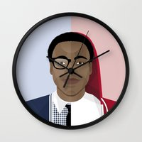 childish gambino Wall Clocks featuring Donald Glover x Childish Gambino by Mathieu Duparcq