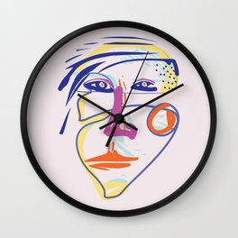 Tough woman - Modern Abstract Brush Portrait Wall Clock