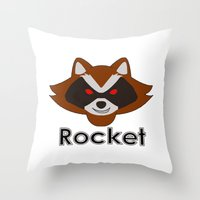 rocket raccoon Throw Pillows featuring Rocket by Pop Culture Fanatics
