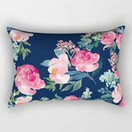Navy and Pink Watercolor Peony Rectangular Pillow