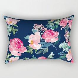 Navy and Pink Watercolor Peony Rectangular Pillow