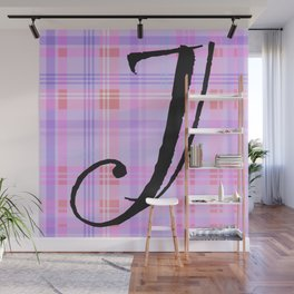 Purple Plaid Initial Wall Mural