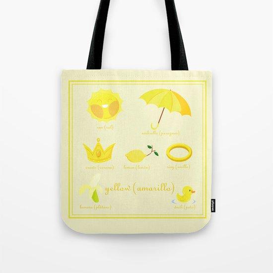 Colors: yellow (Los colores: amarillo) Tote Bag