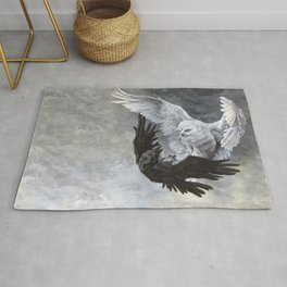 Yin Yang Owl and Raven Rug
