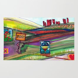 Groovy Snoopy Nature Collage Rug