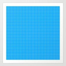 Blue Grid White Line Art Print