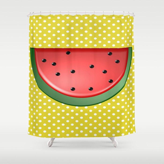 Watermelon and Polka Dots Shower Curtain by frankiecat | Society6