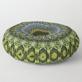 Olive and blue tones mandala Floor Pillow