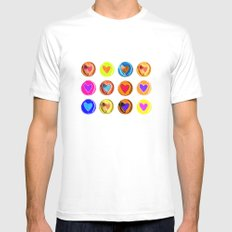 Hearts Mens Fitted Tee MEDIUM White
