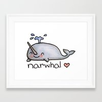 narwhal Framed Art Prints featuring narwhal  by geeboo