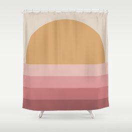 Minimal Retro Sunset / Sunrise - Warm Pink Shower Curtain