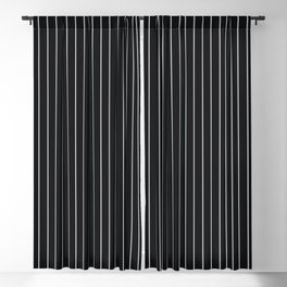 Black Linen Sterling Luna Song Pinstripe Blackout Curtain