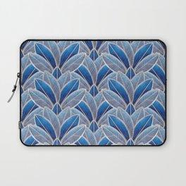 Art nouveau leaf pattern blue Laptop Sleeve