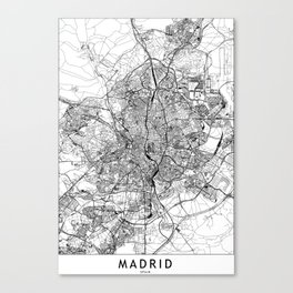 Madrid White Map Canvas Print