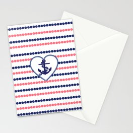 Nautical blue heart anchor coral modern polka dots stripes Stationery Cards