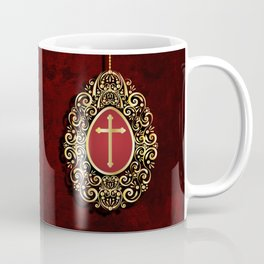 Exquisite gold cross and egg on dark textured background Coffee Mug