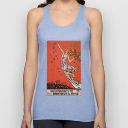 Russian May Day celebration poster in English Unisex Tank Top