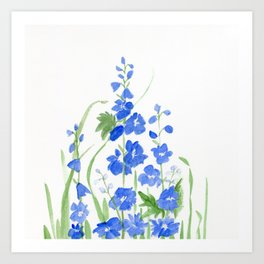 Blue Larkspur Watercolor Garden Flower Delicate Painting Art Print