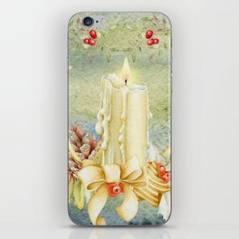 Christmas vintage candle iPhone Skin