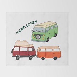 Van Life Camping Traveling Art Throw Blanket