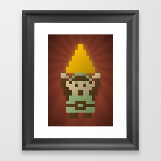 Zelda - Link Triforce Framed Art Print