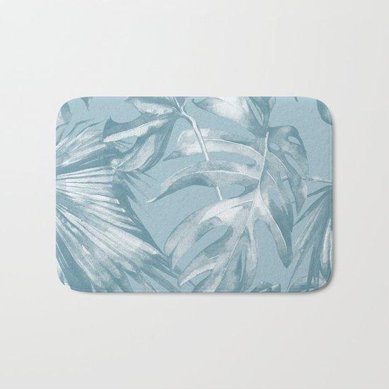 Island Dream Teal Palm Leaves Bath Mat
