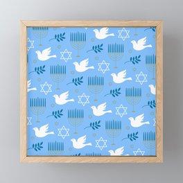 Hanukkah Star Of David, Menorah & Dove Pattern Framed Mini Art Print
