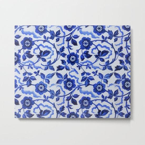 Azulejos blue floral pattern Metal Print