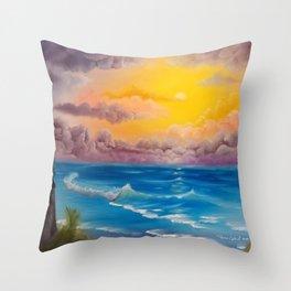 Beach Cove, Beautiful Beach, Colorful Beach, Beach Sunset, Colorful Sunset Throw Pillow