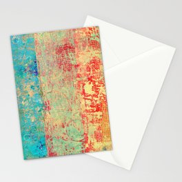 Brilliant Encounter, Abstract Art Turquoise Red Stationery Cards