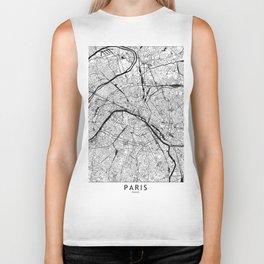 Paris Black and White Map Biker Tank