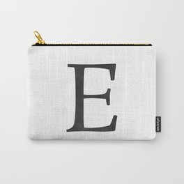 Letter E Initial Monogram Black and White Carry-All Pouch
