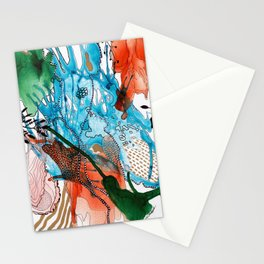 Orange and Blue Botanical Coral Reef Abstract Stationery Cards