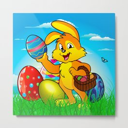 Easter bunny rabbit with Easter basket Metal Print