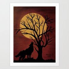 Full Moon/red Art Print