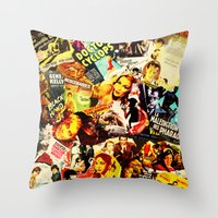 movie posters Throw Pillows featuring Movie vintage poster by Brigitta