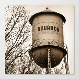 Bourbon Sepia Vintage Tower With Branches - Missouri Square Format Canvas Print