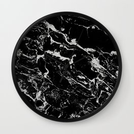 Modern silver black marble pattern Wall Clock
