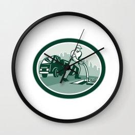 Drainage Unblocking Drain Surgeon Oval Retro Wall Clock