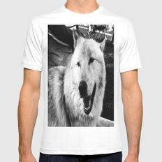 Wolf Dog Mens Fitted Tee White MEDIUM