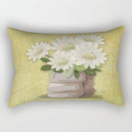 White Flowers on Green Grunge Textured-Look Background Rectangular Pillow