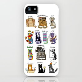 Science cats. History of great discoveries. Schrödinger cat, Einstein. Physics, chemistry etc iPhone Case